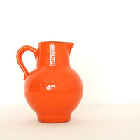 Vintage ceramic orange pitcher by AnnaLouVintage on Etsy