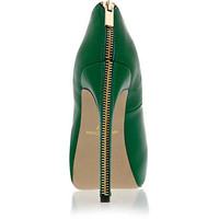 Green zip back platform court shoes