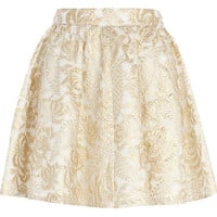 Gold embroidered skater skirt