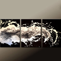 "3pc Abstract Canvas Art Painting 48"" Original Contemporary Triptych Paintings by Destiny Womack - dWo - When Thoughts Run Wild"