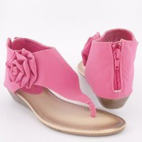 Women's T-Strap Gladiator Low Wedge Thong Sandals W/ Flower Pink , 5.5-10