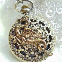 Bronze dragon pocket watch, men's mechanical pocket watch