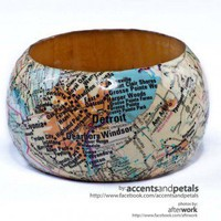 Wood Bangle Decoupaged with Vintage Maps - Large | AccentsandPetals - Woodworking on ArtFire