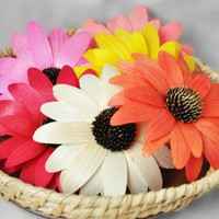 Gerber Daisy - Wooden Flowers - Birch Wood Shavings - Weddings | AccentsandPetals - Wedding on ArtFire