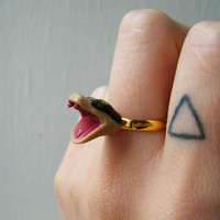 Adjustable Ring Vintage Plastic RattleSnake by theTriangleOfBears