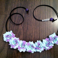 Purple and Blue Rose Flower Headband, Flower Crown, Flower Halo, Festival Wear, EDC, Neon, Coachella, Ezoo,Ultra Music Festival, Rave