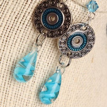 Handmade Aqua Lampwork Silver Bead Earrings | peaceloveandallthingsjewelry - Jewelry on ArtFire
