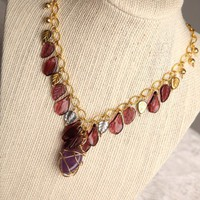 Handmade Wire Wrapped Amethyst Stone and Purple Glass Charm Necklace | peaceloveandallthingsjewelry - Jewelry on ArtFire