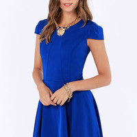 A Sight To Be Seam Royal Blue Skater Dress