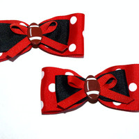 Custom polka dot football bows- set of 2- pigtail hair clips