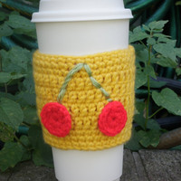 Cherry bomb coffee cozy, cup cozy, beer cozy