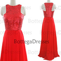 Straps Sequined and Chiffon Red Long Prom Dresses, Red Prom Gown, Evening Dresses, Wedding Party Dresses