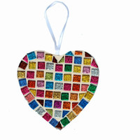 Multicolored Mosaic Christmas Ornament