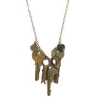 Vintage Keys To My Heart Necklace