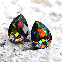 Swarovski Crystal Studs Swarovski Rainbow Vitrail by MASHUGANA