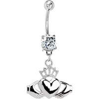 Crystalline Gem IRISH CLADDAGH Belly Ring | Body Candy Body Jewelry