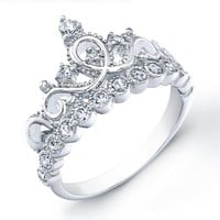 925 Sterling Silver Crown Ring / Princess Ring - Free Shipping:Amazon:Jewelry