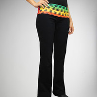 Rasta Leaf Waist Yoga Pants