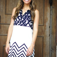 Pattern Party Dress: White/Navy | Hope's
