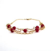 Multistrand red ruby bracelet, July birthstone bracelet, multistrand bracelet, gold filled wire wrapped jewelry, genuine ruby jewelry
