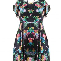 LOVE Black Floral Frill Top Cross Back Dress