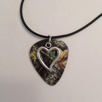 Mossy Oak Camo Camouflage guitar pick necklace with heart charm love country southern jewelry