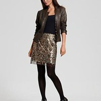 "Elie Tahari ""Yoon"" Leather Jacket and ""Cindy"" Lace-Trim Sequin Skirt - Pants, Skirts & Shorts - Bloomingdales.com"