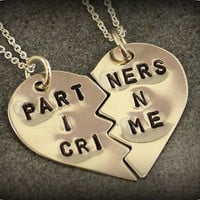 Hand Stamped Partners in Crime Necklaces - Best Friend Jewelry - BFF Jewelry - Best Bitch Charms - Nickel Silver
