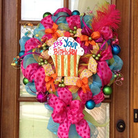 Birthday Wreath by TwistedWreaths on Etsy
