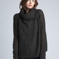 Zigzag Cowl-neck Sweater