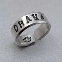 Personalized Ring - Ohana - Hand Stamped Aluminum Ring - Customizable