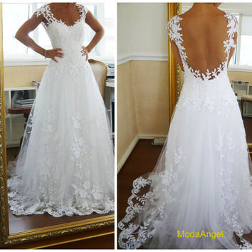 Backless Lace Wedding Dress Custom Made Straps White Lace Ball Gown Wedding Dresses