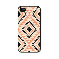 iPhone 4 Case - Coral Tribal Geometric  - Southwest - Peach Black iPhone 4s Case