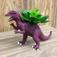 Up-cycled Cranberry Wine Colored Dinosaur Planter - Fall Inspired