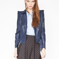 Navy leather jacket - Shop the latest Fashion Trends