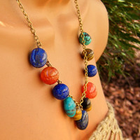 Multi Stone Statement Necklace. Autumn Lapis Carnelian Turquoise Necklace