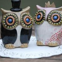 customized owl wedding cake toppers