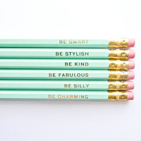 Gentle Reminders Pencils- Mint and Gold, Set of 6