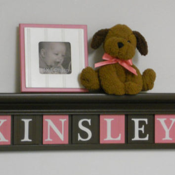 "Children Decor - Nursery Decor 30"" Shelf With 7 Letter Wooden Tiles Painted Chocolate Brown and Pink - KINSLEY"