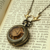 Amber Glass Pocket Watch Necklace