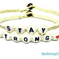 Stay Strong Bracelet Set, White Macrame Hemp Jewelry