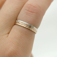 14k Rose Gold Filled, 14k Yellow Gold Filled and Sterling Silver Textured Stack Ring Set , Skinny Stacking Rings  - Simple Modern Minimal