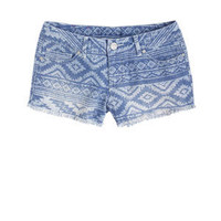 Native Print Denim Short