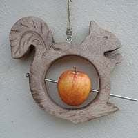 Wooden Squirrel Bird Feeder