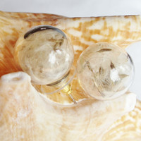 Earrings, glass orb stud earrings  filled with dandelion wishes