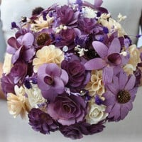 Wooden Bouquet - Purple and natural Birch | AccentsandPetals - Wedding on ArtFire