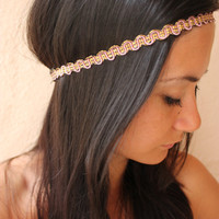 Purple gold headband headwrap by ThreeHeartZ on Etsy