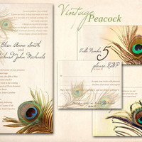 PEACOCK WEDDING INVITATION Printable Template Golden by ABandIG
