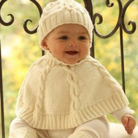 BABY PONCHO AND HAT SET HAND KNITTED IN MERIO ALPACA | tvkstyle - Children's on ArtFire