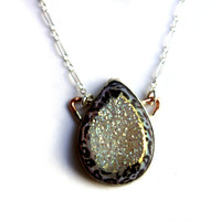 Snow Leopard Animal Drusy Pendant in Sterling Silver